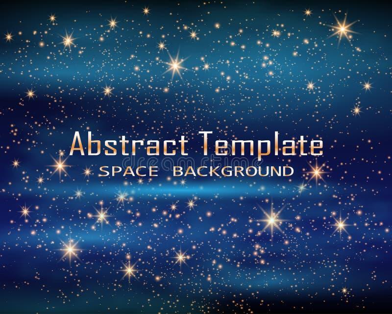 Espaço mágico Infinidade feericamente da poeira Fundo abstrato do universo Gog azul e estrelas de brilho Ilustração do vetor ilustração stock