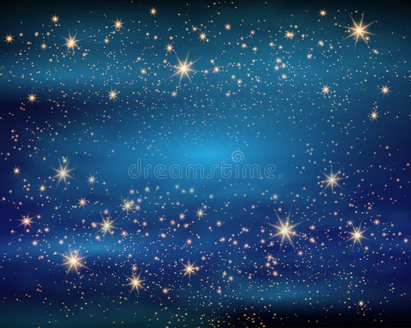 Espaço mágico Infinidade feericamente da poeira Fundo abstrato do universo Gog azul e estrelas de brilho Ilustração do vetor