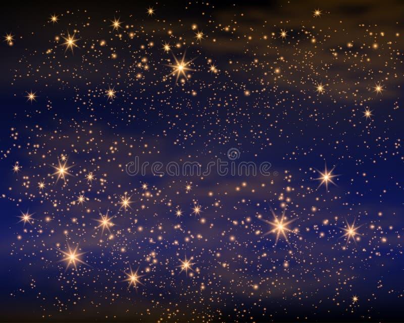 Espaço mágico Infinidade feericamente da poeira Fundo abstrato do universo Gog azul e estrelas de brilho Ilustração do vetor ilustração royalty free
