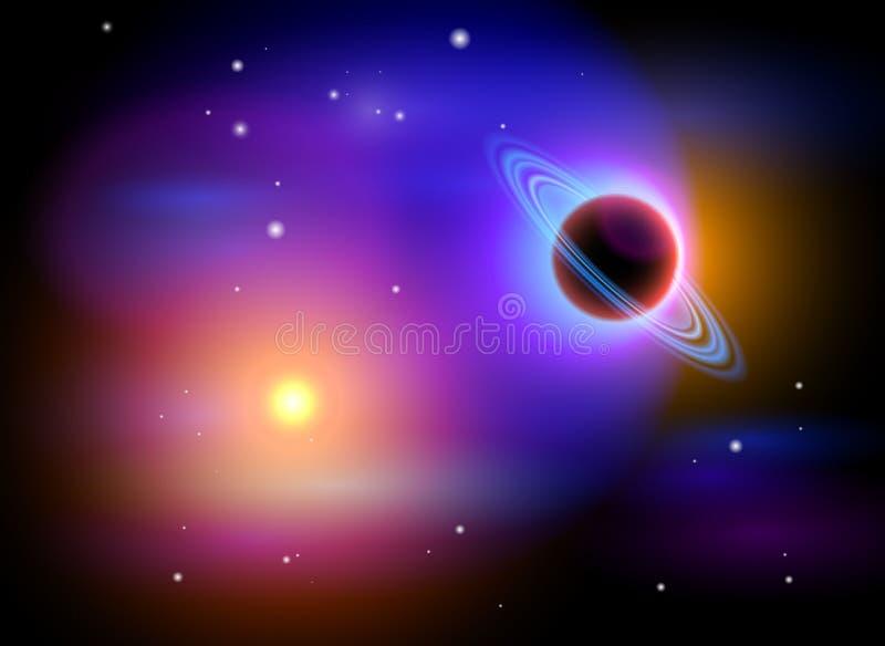 Espaço mágico - planeta & estrelas ilustração royalty free