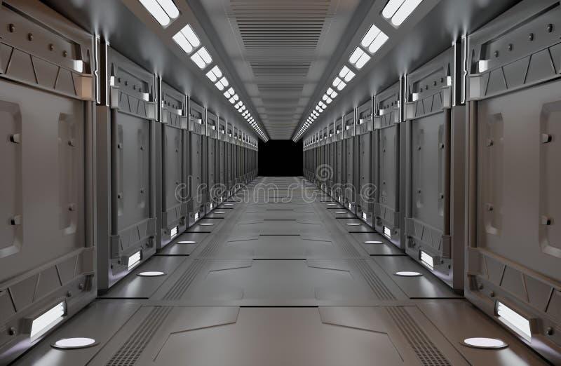 Espaço metálico com vista, túnel, corredor, espaço com cópia luminosa, ninguém ilustração do vetor