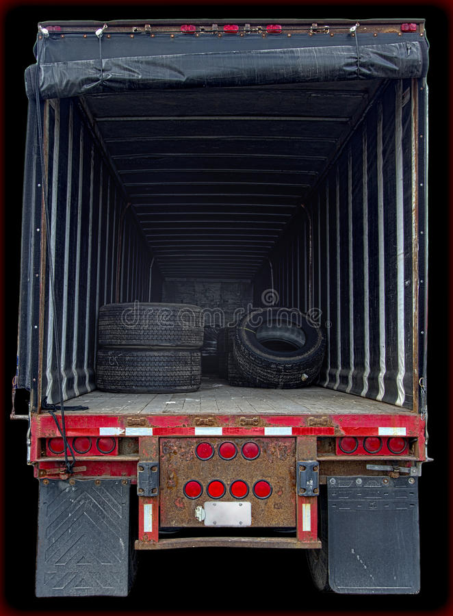 Espaço mostrando interior da carga do caminhão foto de stock royalty free