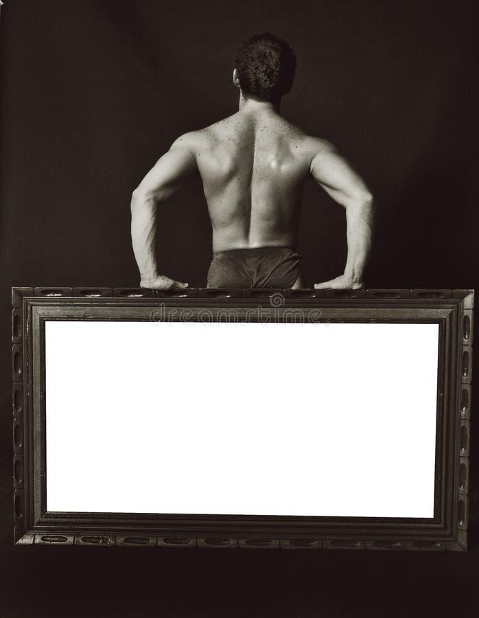 Espaço para o bodybuilder do texto imagem de stock