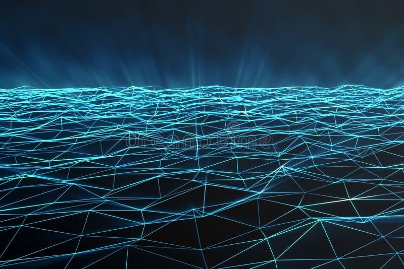 Espaço poligonal abstrato baixo poli com pontos e linhas de conexão Fundo futurista Estrutura da conexão 3d ilustração do vetor