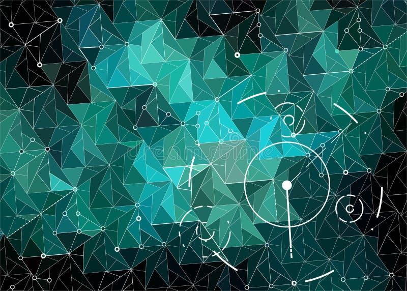 Espaço poligonal abstrato esmeralda e escuro - hud verde do fundo ilustração royalty free
