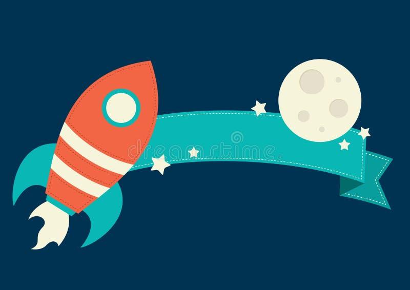 Espaço Rocket Banner ilustração stock