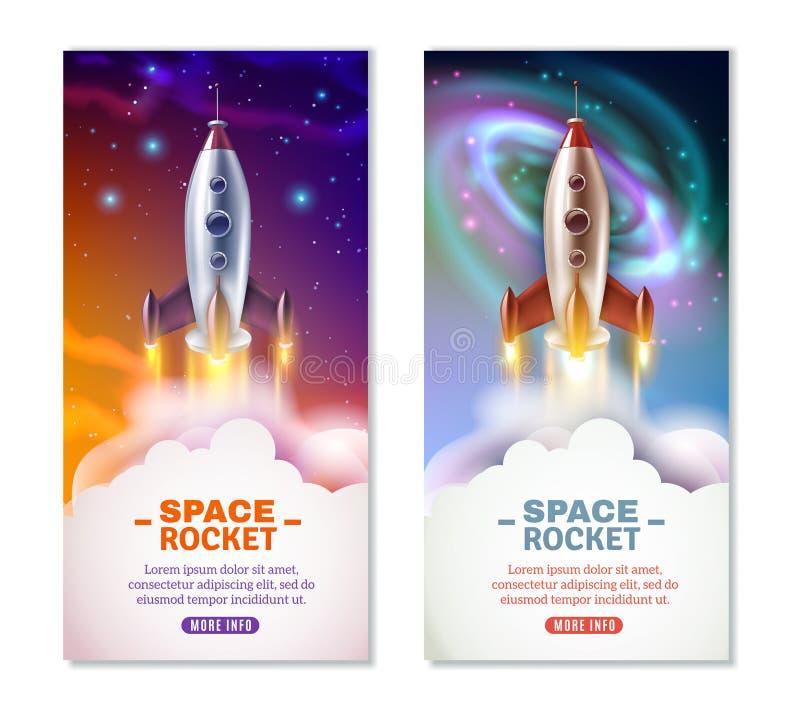 Espaço Rocket Vertical Banners ilustração stock