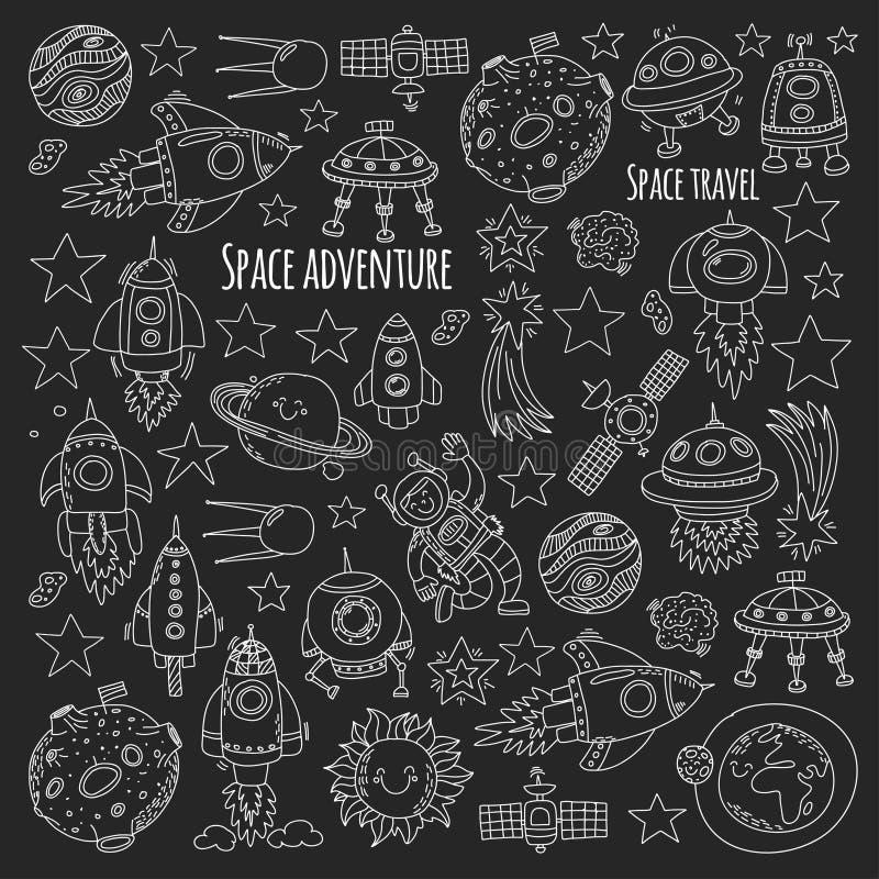 Espaço, satélite, lua, estrelas, nave espacial, ícones e testes padrões tirados mão da garatuja do espaço da estação espacial ilustração do vetor