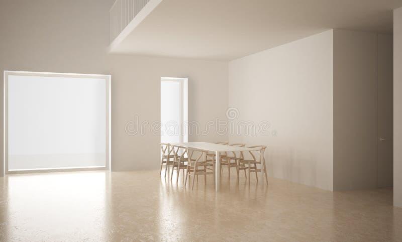Espaço vazio moderno com tabela e cadeiras, sótão, architectu branco ilustração royalty free