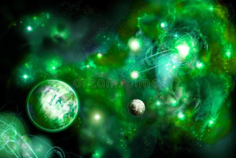 Espaço verde com dois planetas ilustração royalty free