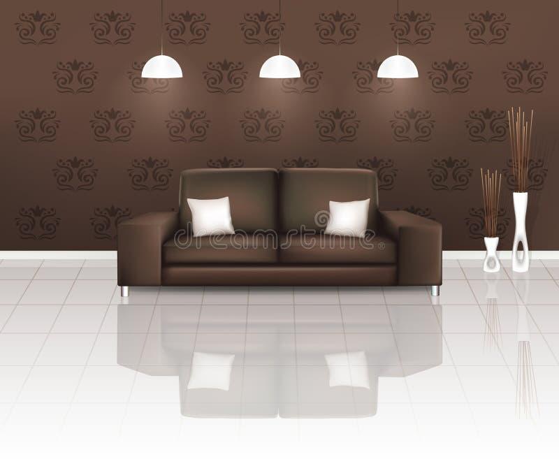 Espaço vivo com sofá de Brown ilustração royalty free