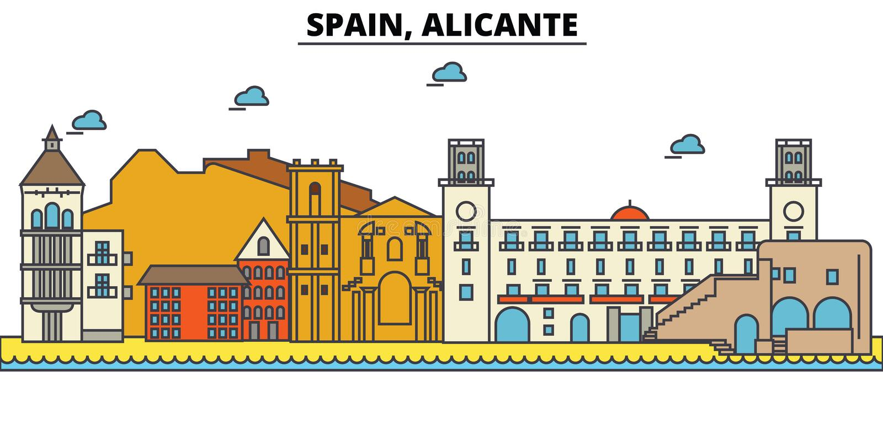 España, Alicante Arquitectura del horizonte de la ciudad editable libre illustration