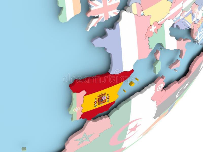 España con la bandera ilustración del vector