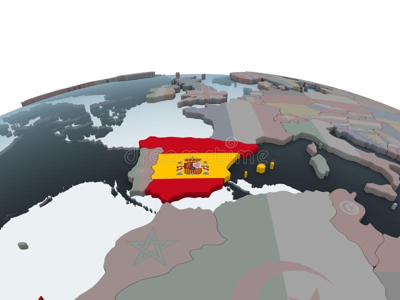 España con la bandera en el globo stock de ilustración