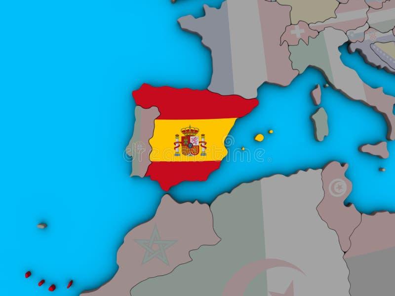 España con la bandera en el mapa 3D stock de ilustración