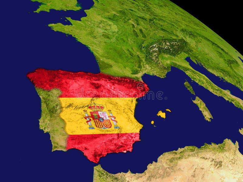 España con la bandera en la tierra libre illustration