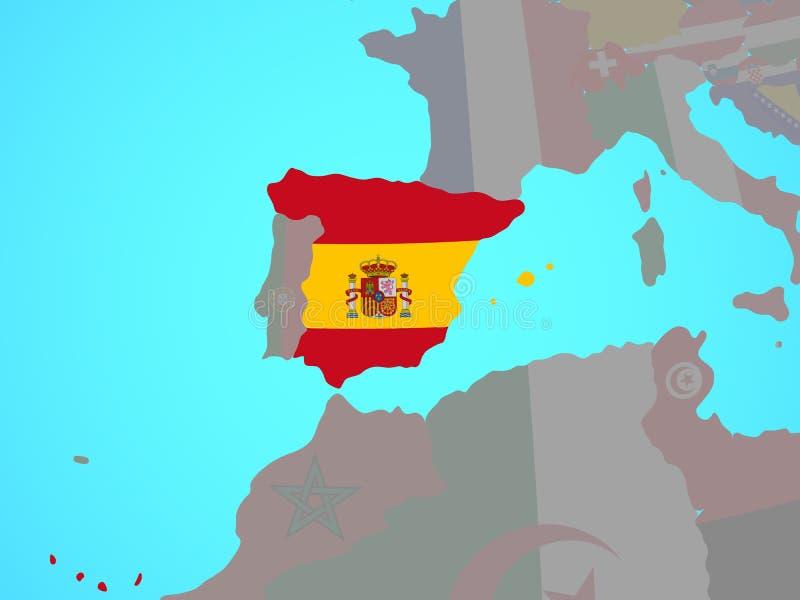 España con la bandera en mapa ilustración del vector