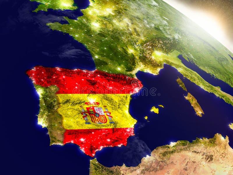 España con la bandera en sol naciente ilustración del vector