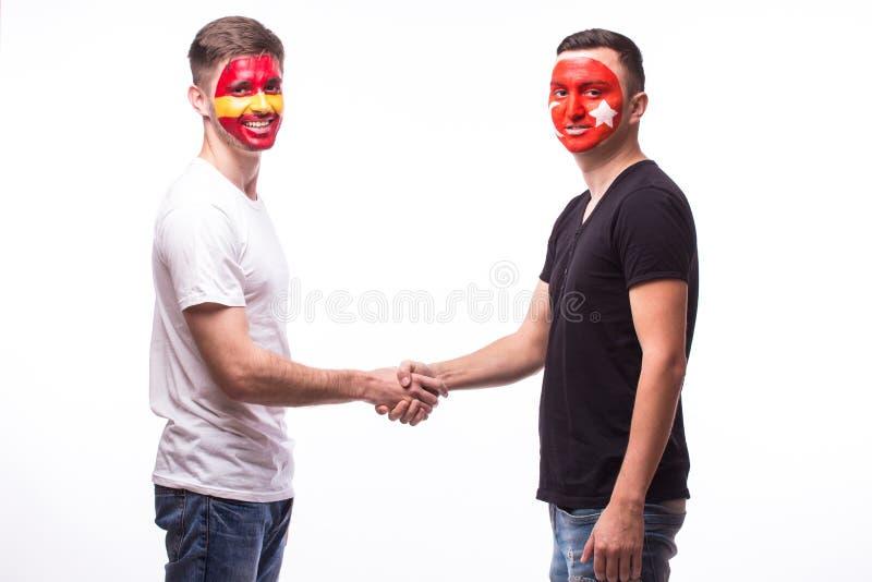 España contra el apretón de manos amistoso de Turquía del juego igual foto de archivo