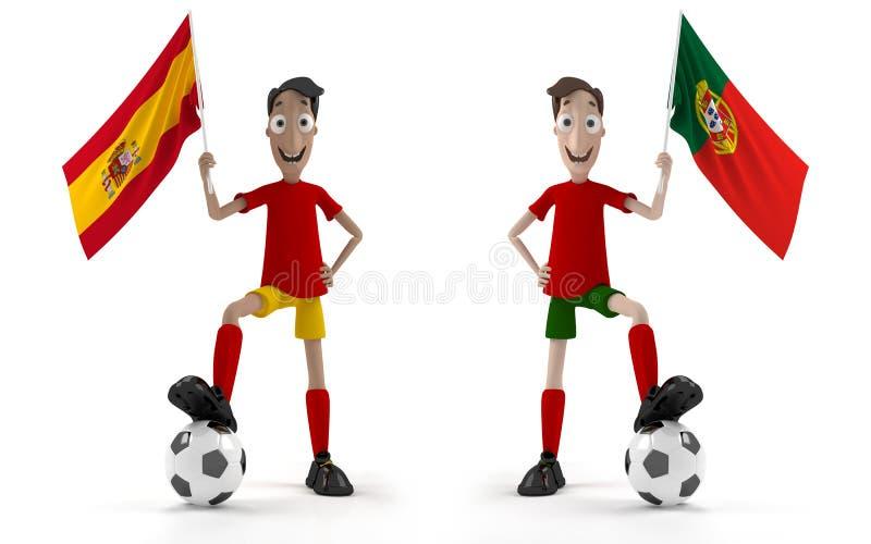 España contra Portugal stock de ilustración