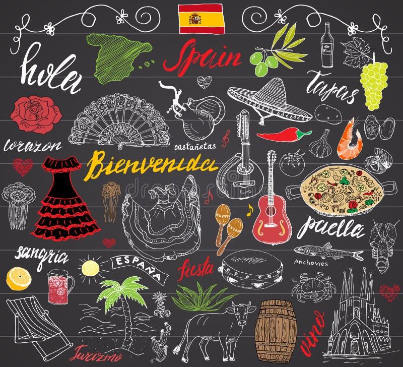 España garabatea elementos Sistema dibujado mano con las letras españolas, paella de la comida, camarón, aceituna, uva, fan, barr ilustración del vector
