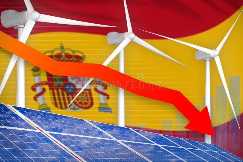 España solar y energía eólica que baja la carta, flecha abajo - del ejemplo industrial renovable de la energía natural ilustració libre illustration