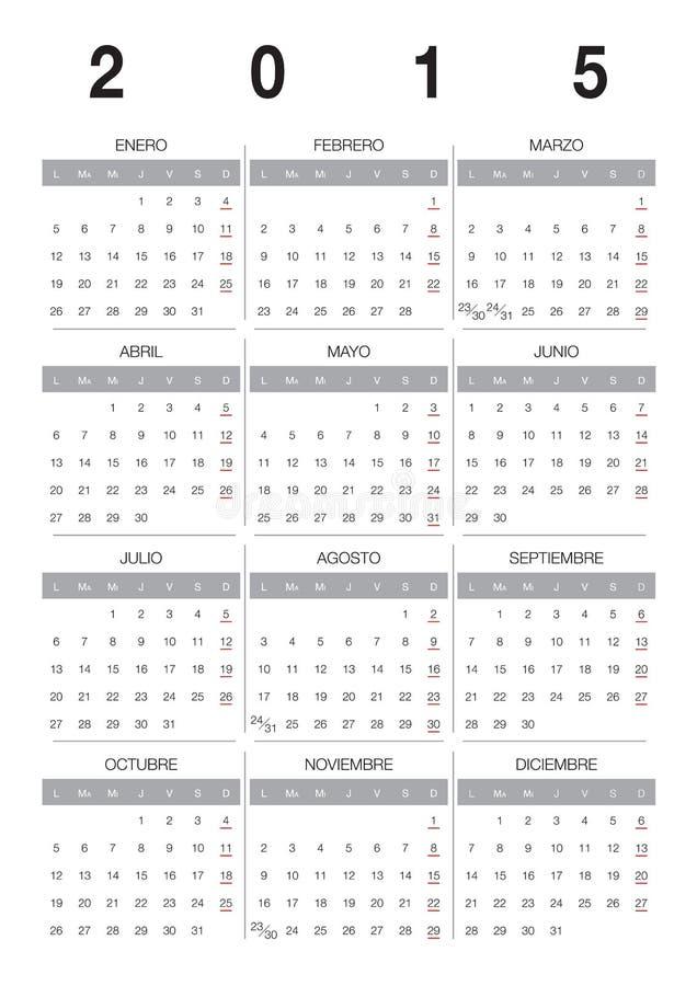 Español del calendario 2015 ilustración del vector