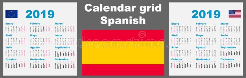 Español del calendario, 2019 plantilla determinada hispánica del ejemplo de la pared ISO 8601 de la rejilla con la enumeración de ilustración del vector