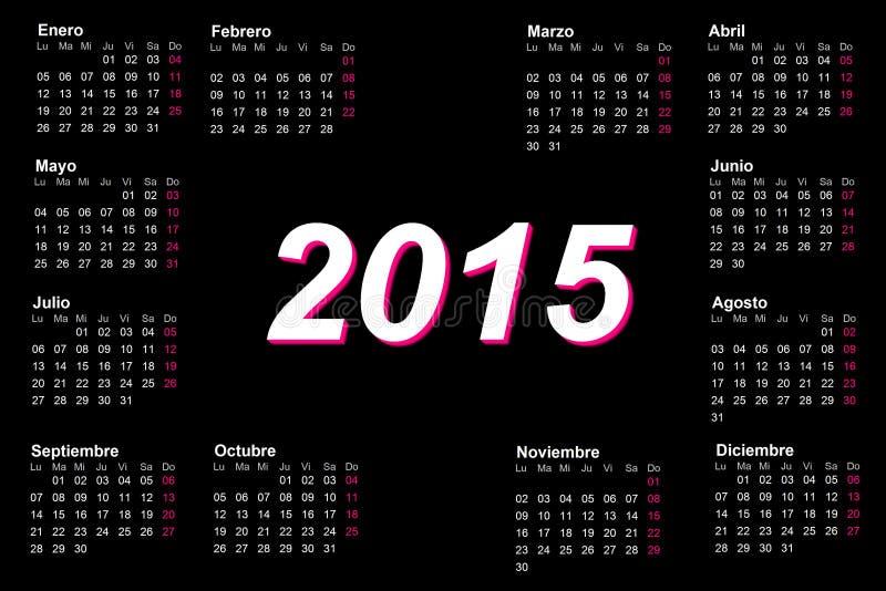 Español europeo calendario de 2015 años stock de ilustración