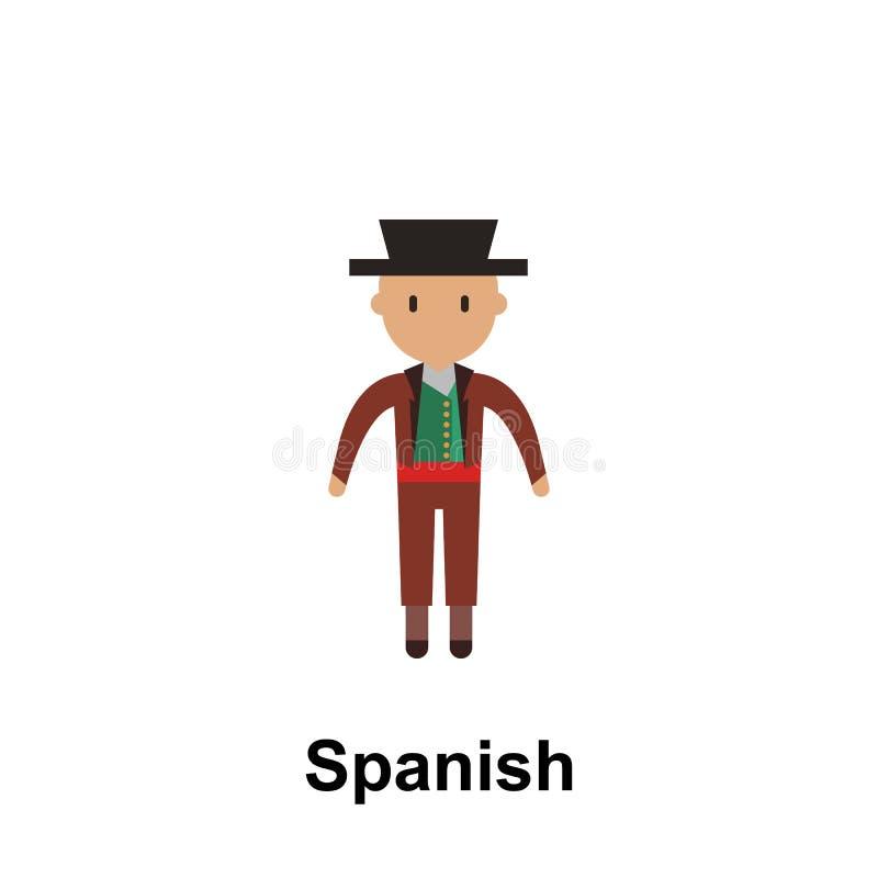 Español, icono de la historieta del hombre Elemento del icono del color de la gente en todo el mundo Icono superior del diseño gr stock de ilustración
