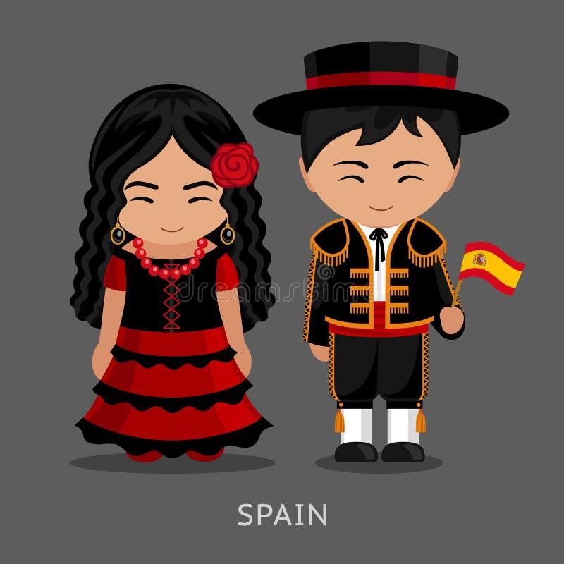 Españoles en vestido nacional con una bandera ilustración del vector