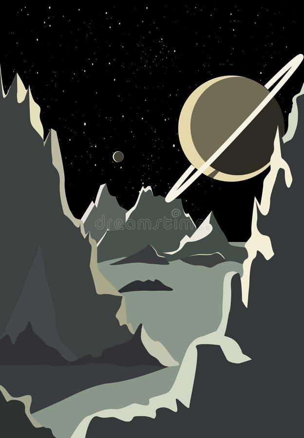 Espa?o, vista do desenho retro do planeta ilustração stock