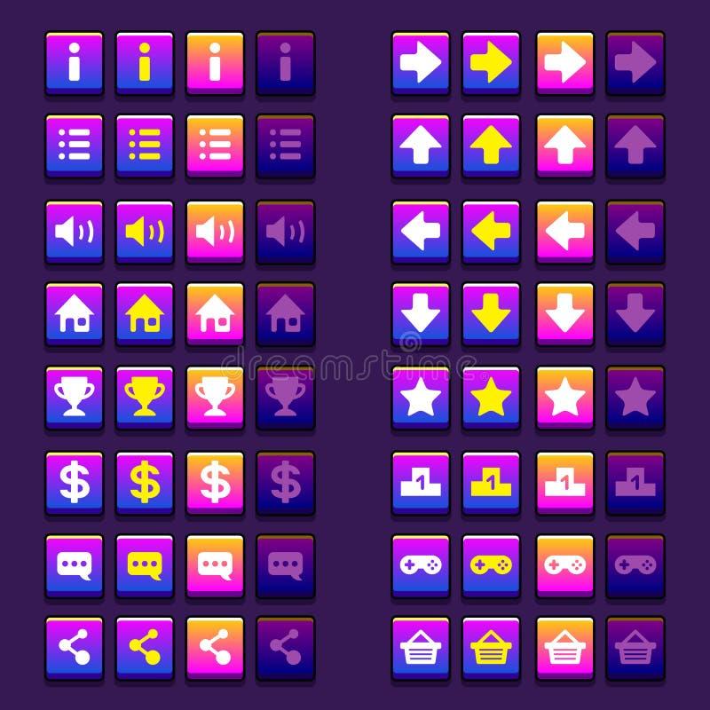 Espace ícones dos botões dos ícones do jogo, relação, ui ilustração royalty free