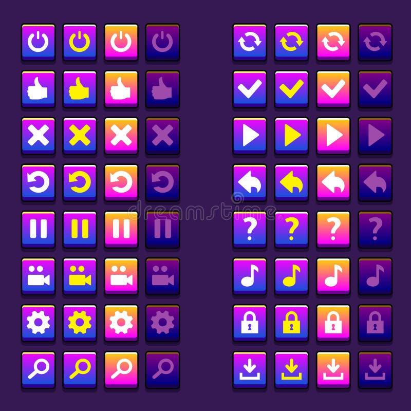 Espace ícones dos botões dos ícones do jogo, relação, ui ilustração do vetor