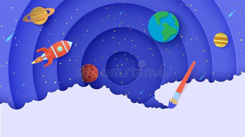 Espace avec planètes et fusée polygonale rouge volante en forme de découpe de papier Planètes vectorielles Terre, Saturne, Mercur photos libres de droits