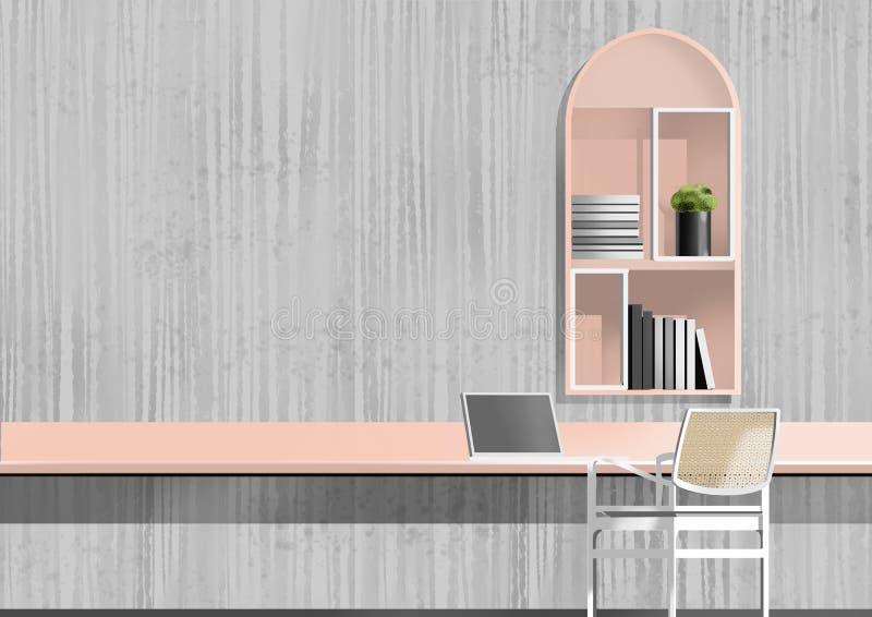 Espace de travail avec des étagères, peinture d'illustration photo stock