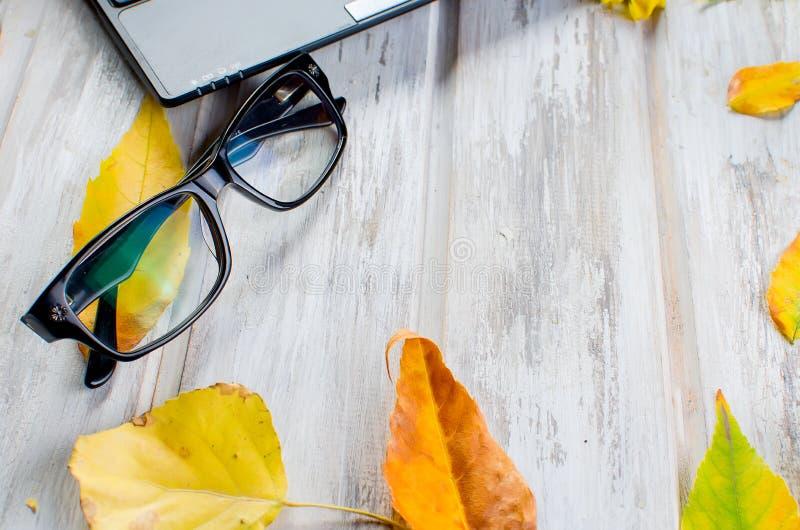 Espace de travail avec l'ordinateur portable, les verres et les feuilles d'automne images libres de droits