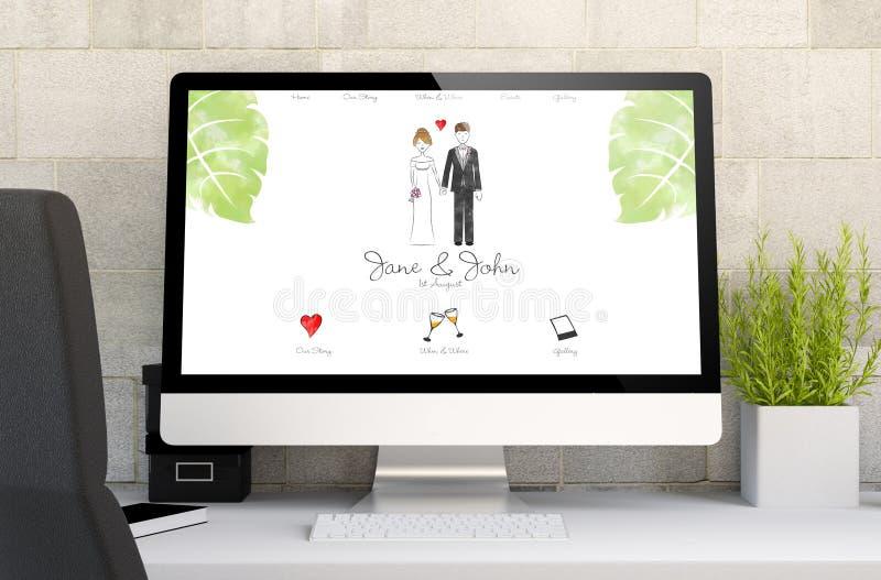 espace de travail avec la conception de site Web de mariage illustration stock