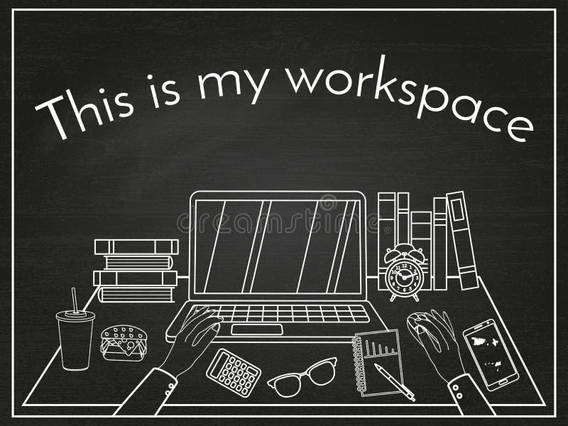 Espace de travail blanc linéaire d'affaires d'icônes illustration de vecteur