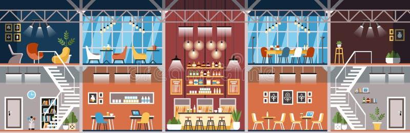 Espace de travail de Coworking Intérieur de bureau Vecteur illustration stock