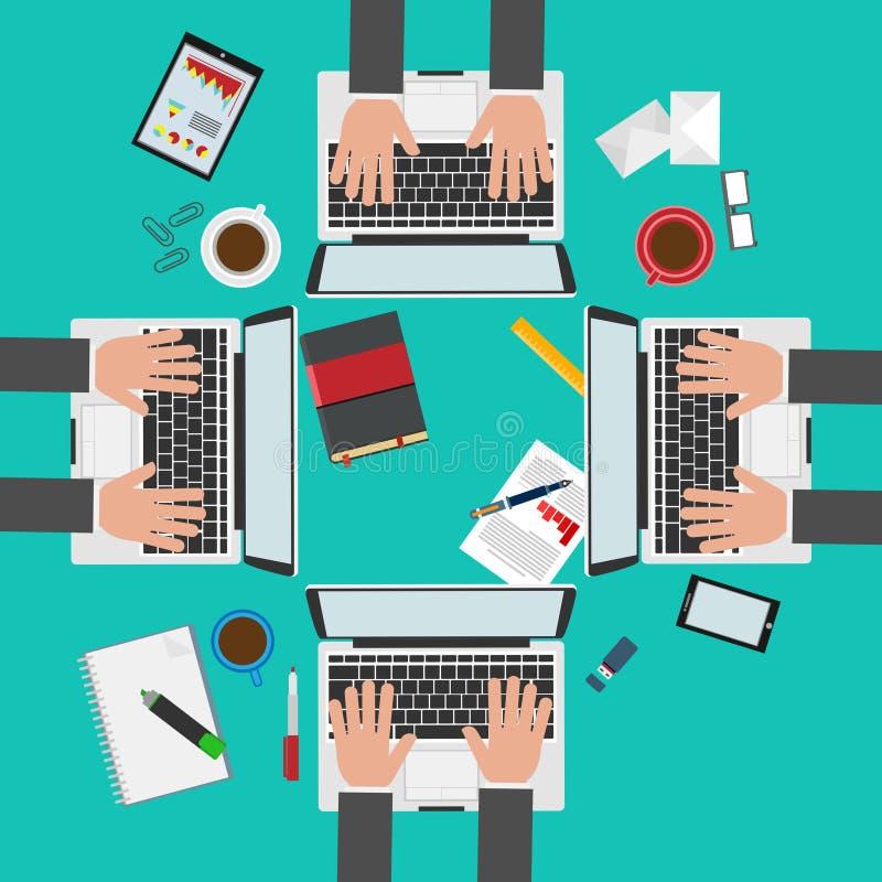 Espace de travail d'infography de démarrage d'entreprise photo libre de droits