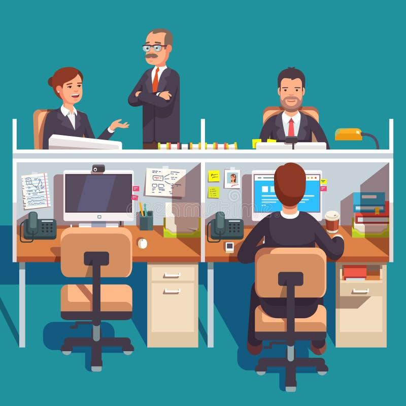 Espace de travail de bureau de compartiment avec des employés illustration de vecteur