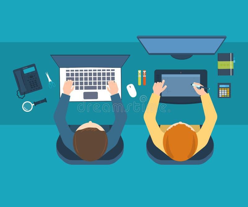 Espace de travail de bureau de concepteur avec des outils et des dispositifs illustration libre de droits