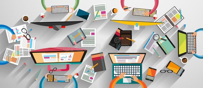 Espace de travail idéal pour le travail d'équipe et brainsotrming avec le style plat illustration stock