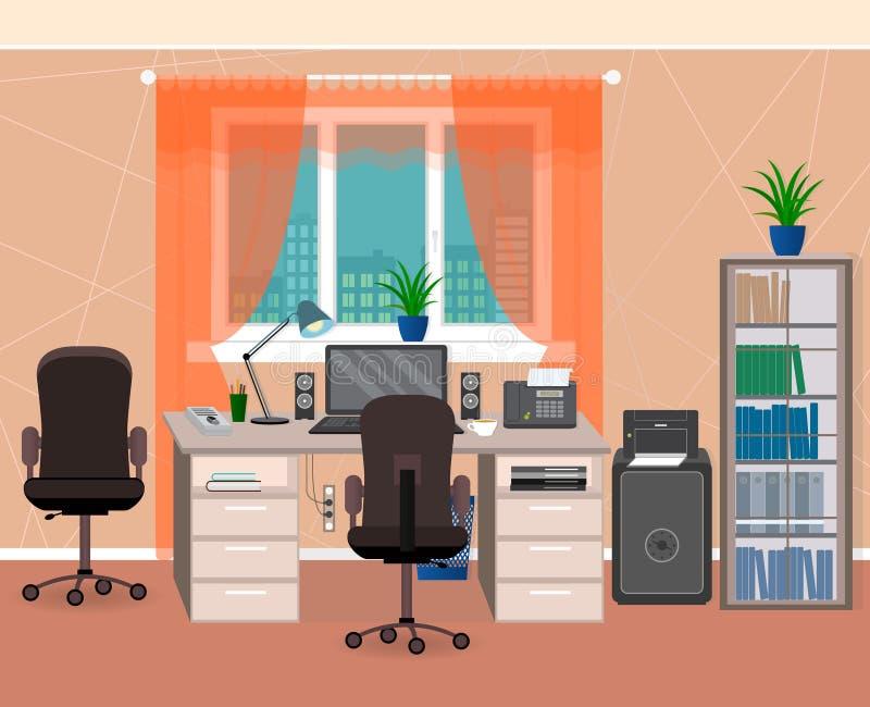 Espace de travail intérieur de bureau avec les meubles et la papeterie Organisation de lieu de travail dans l'environnement famil illustration stock