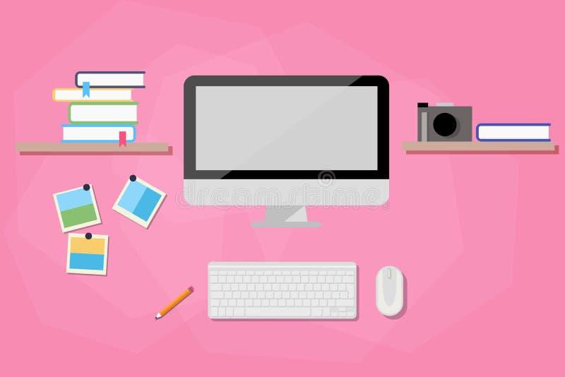 Espace de travail moderne avec l'ordinateur images stock