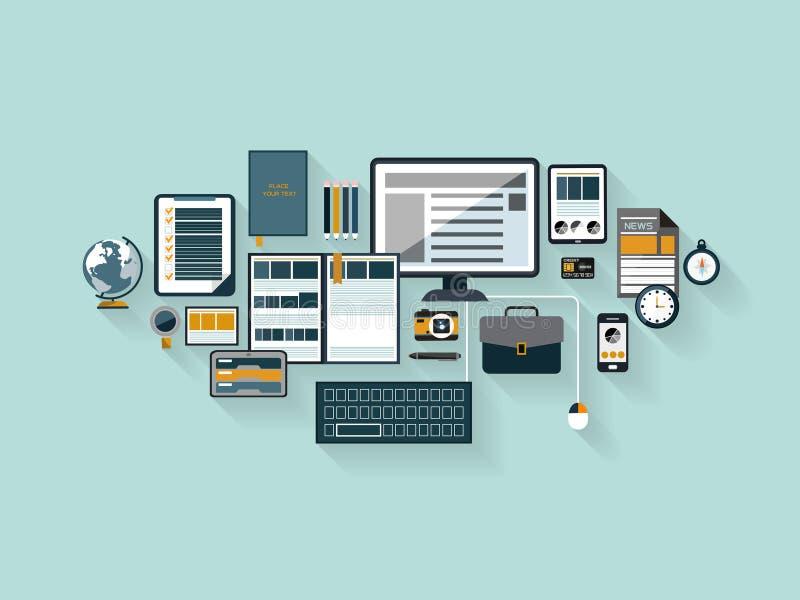 Espace de travail moderne de bureau dans la conception plate illustration libre de droits