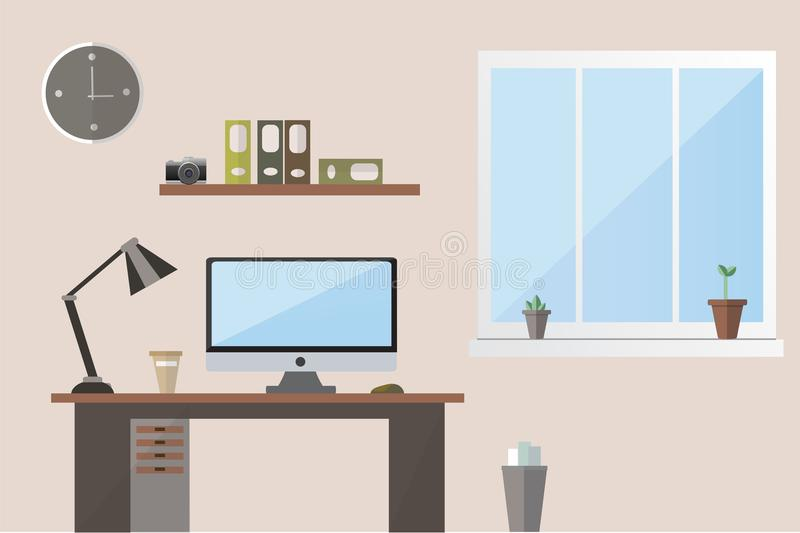 Espace de travail plat de bureau d'illustration de conception illustration de vecteur