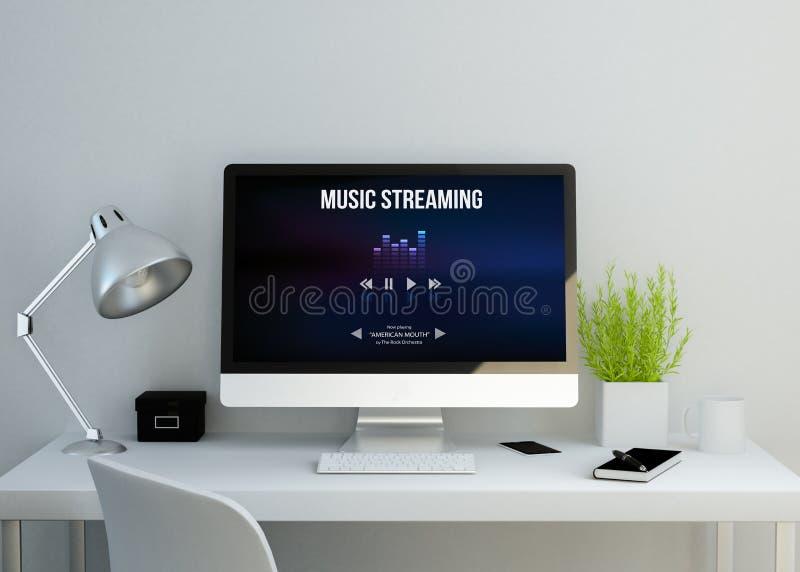 Espace de travail propre moderne avec la musique coulant le site Web sur l'écran illustration libre de droits