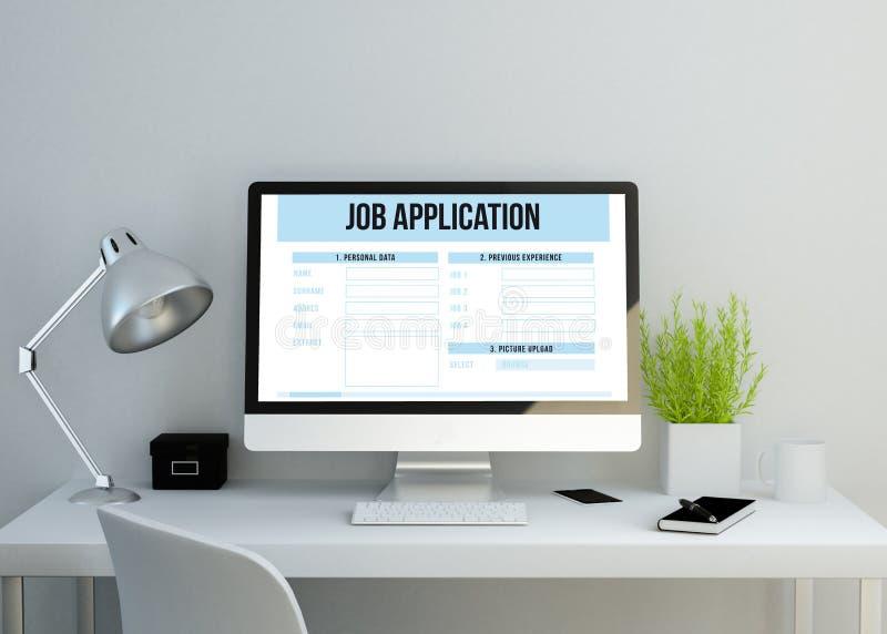 Espace de travail propre moderne montrant la demande d'emploi illustration libre de droits